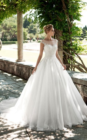 Summer bridal dresses beachy wedding gown dorris wedding a line long scoop neck cap sleeve keyhole tulle dress with appliques and junglespirit Gallery