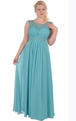 A-Line Floor-Length Jewel Short Sleeve Empire Chiffon Pleats Zipper Dress