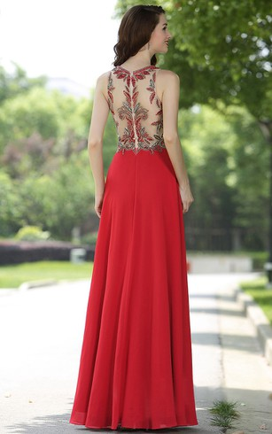 Empire Floor-Length Halter Sleeveless Empire Chiffon Appliques Illusion Dress