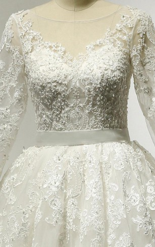 Lace and Tulle 3-4 Sleeve Bateau Neck Dress With Low-V Back