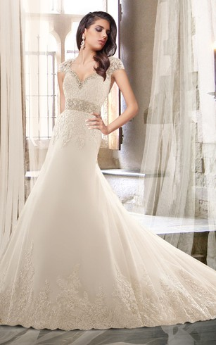 Queen Anne Neck Beaded Wedding Dress With Chapel Train ...
