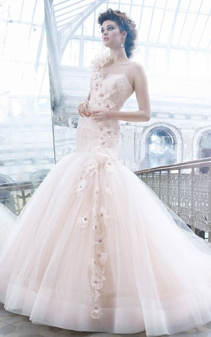 Sexy One Shoulder Lace Bodice Tulle Ball Gown With Cascading Floral Detail