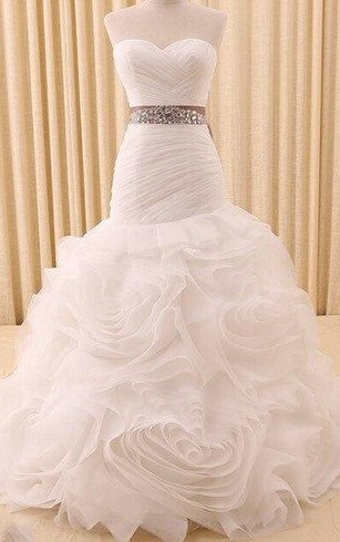 Mermaid Organza Sweetheart Dress With Ruffles and Beaded Waist
