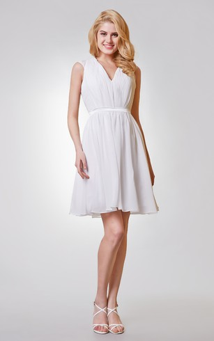 V Neck Appliqued A Line Short Chiffon Dress With Keyhole And Ruching