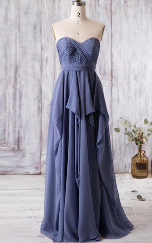 Sweetheart Empire Pleated A-line Chiffon Long Dress With Ruffles and Keyhole