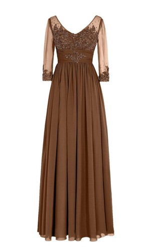 3-4 Sleeved V-neck Chiffon Gown With Illusion Sleeves