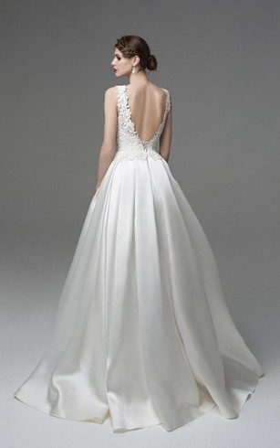 Bateau Neck Sleeveless A-Line Satin Dress With Lace Appliques