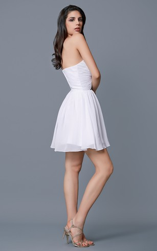 Sweetheart Squined Twisted Bust Chiffon Short Dress