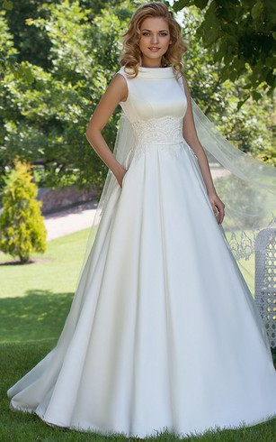 A Line High Neck Sleeveless Satin Wedding Dress With Lace And Up