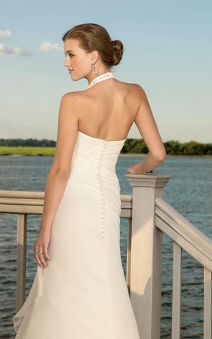 sheath V-neck Halter Chiffon Wedding Dress