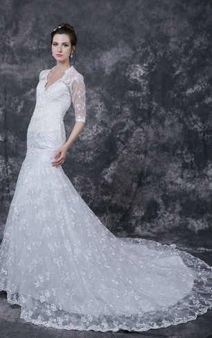 Romantic Half-sleeved Lace Applique Wedding Dress