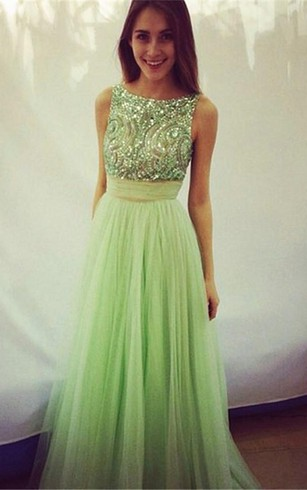 Delicate Crystals Tulle  Prom Dress Bowknot A-line