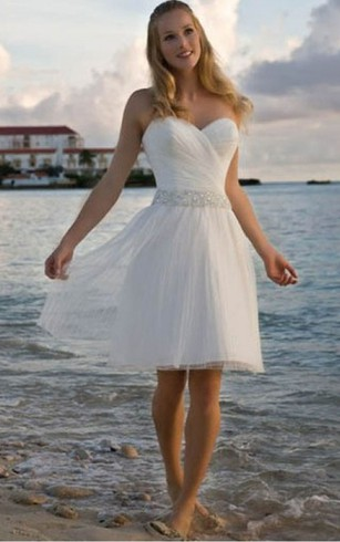 Short bridal dresses knee length simple casual wedding gowns angelic crisscross ruched bodice short dress with beaded waist junglespirit Choice Image