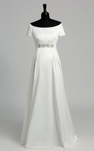 Simple Style Wedding Dress With Sleeve Simple Sleeves Bridal