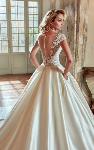 V Neck A Line Wedding Dress With Lace Bodice And Satin Skirt