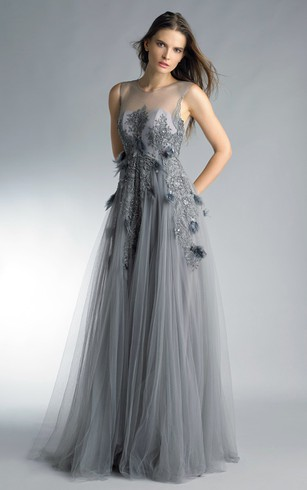 A-line Floor-length Jewel Short Sleeve Tulle Low-V Back Dress