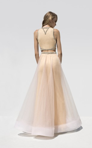 A-Line Floor-Length Bateau-Neck Sleeveless Tulle Beading Dress