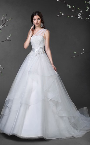 Ball Gown Long One-Shoulder Sleeveless Lace-Up Tulle Satin Dress With Draping And Tiers