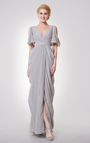 Unique Low V Neck Off Shoulder Empire Long Dress With Straps