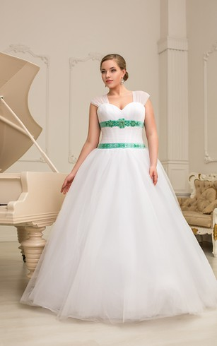 A-Line Floor-Length Sweetheart Cap-Sleeve Corset-Back Organza Dress With Ruching And Beading