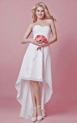 Fresh Look Sweetheart Hi-Lo Split Skirt Chiffon Dress