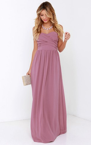 Sweetheart Charming Long Dress With Crisscross Ruching