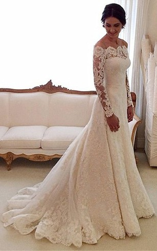 Off-shoulder All Lace A-line Gown With Long Sleeves