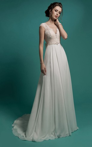 Petite bridals gowns bridal wedding gown for petite dorris wedding a line floor length v neck cap sleeve zipper chiffon dress with junglespirit Images