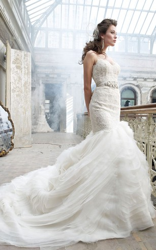 Magnificent Sweetheart Neckline Lace Organza Dress With Jeweled Ribbon Belt