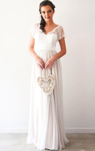 23149e145c53 Sheath Pleated Short-Sleeve Maxi V-Neck Chiffon Wedding Dress With Beading  And Backless ...