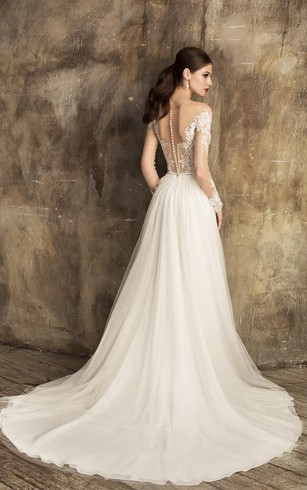 ... V Neck Lace And Tulle A Line Dress With Illusion Back And Lace Bodice