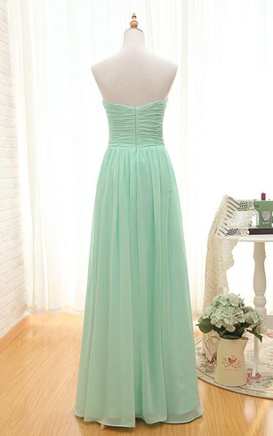 Sweetheart A-line Floor-length Ruched Chiffon Dress