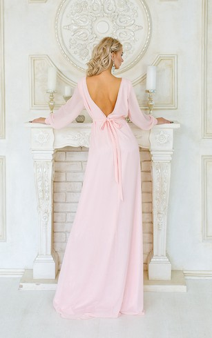 Sheath Floor-Length Jewel Long Sleeve Chiffon Crystal Detailing Pleats Low-V Back Dress