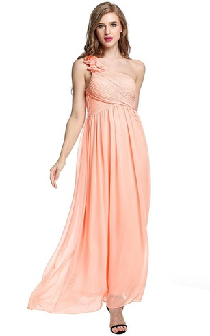 Empire Floral Single Strap Chiffon Long Dress