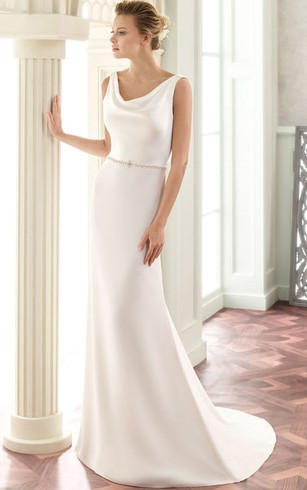 9a7db0bea Floor-Length V-Neck Jeweled Satin Wedding Dress With Brush Train And V Back  ...