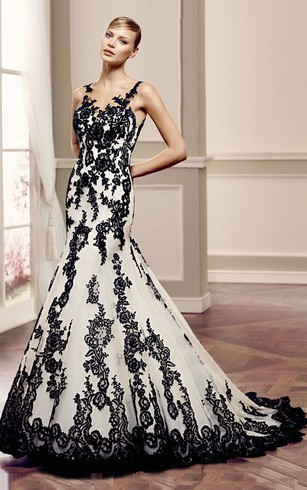 Black bridal dresses colored wedding gown dorris wedding mermaid floor length bateau appliqued sleeveless lace wedding dress with illusion back and court train junglespirit Gallery