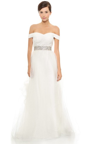 Long Off-shoulder Empire Organza Dress With Beaded Belt