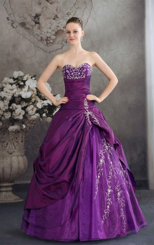 b5ddd3a1929a Sweetheart Pick-Up Appliqued Satin Embroideries and Gown With Stress ...