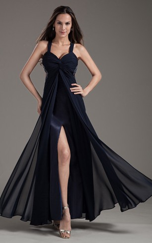 Front Splited Sleeveless Chiffon Long Dress With Beadings