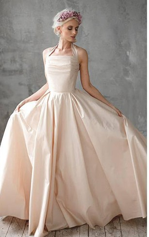 Halter Taffeta A Line Dress With Ruching And Bow