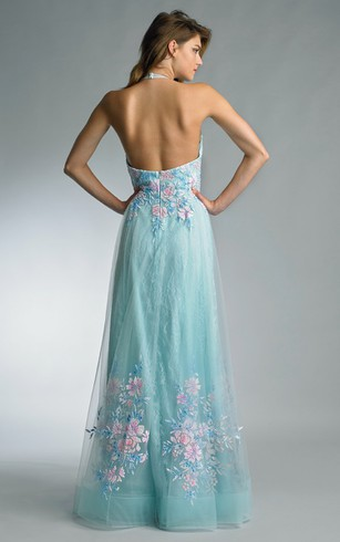 a-line Floor-length Halter Sleeveless Tulle Backless Dress