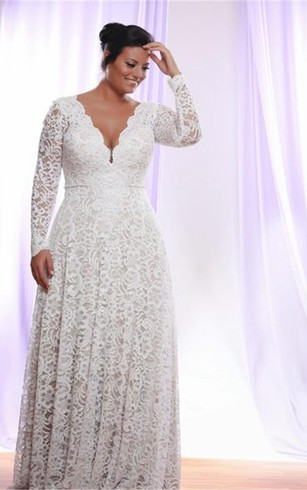 Full figure size bridal dresses wedding dress for plus women removable long sleeves v neck floor length a line lace plus size wedding dress junglespirit Choice Image