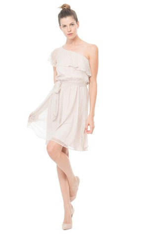 Ong-Shoulder A-Line Short Modern Dress With Ruffles