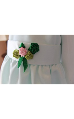 Bateau Neck Sleeveless A-line Ankle Length Tulle Dress With Flower Sash