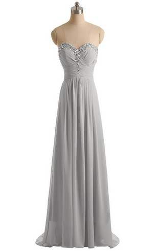 Sweetheart Empire Chiffon Dress With Sequined Bustline