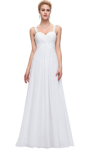 Sleeveless Straps A-line Long Ruched Chiffon Dress