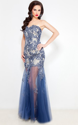 Mermaid Floor-Length Sweep Sweetheart Sleeveless Tulle Lace Pleats Backless Dress