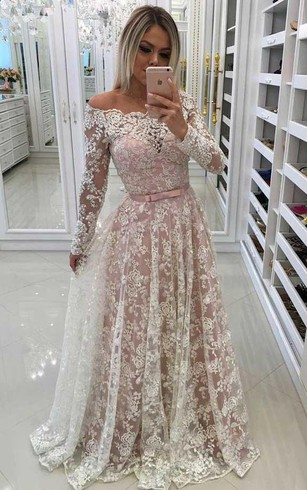 Lace Formal Dresses With Long Sleeves | Long Illusion Sleeve Evening ...