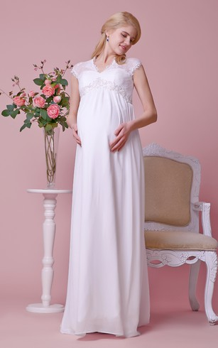 Queen Anne Lace Cap-sleeved Empire Waist A-line Chiffon Gown