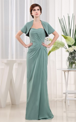 Sweetheart Long Chiffon Bolero and Dress With Central Ruching